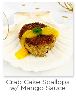Crab Cake Scallop with Mango Sauce