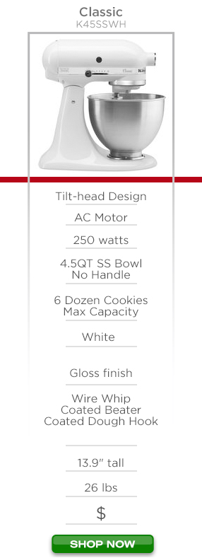 """KitchenAid Classic K45SSWH - Tilt-head design, AC motor, 250 watts, 4.5qt stainless steel bowl no handle, 6 dozen cookies max capacity, white color, gloss finish, wire whip coated beater coated dough hook, 13.9"""" tall 26lbs $ Shop Now"""