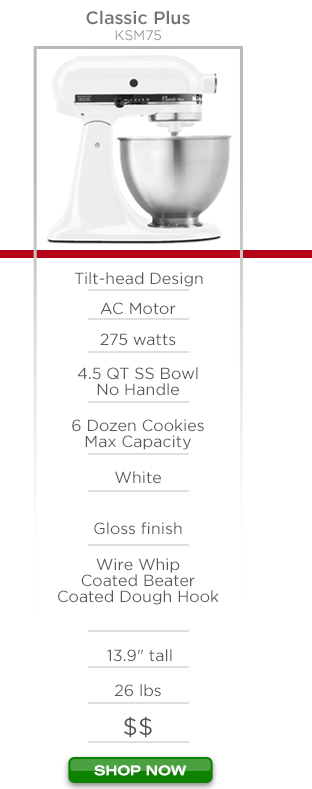 """KitchenAid Classic Plus KSM75 - Tilt-head design, AC motor, 275 watts, 4.5qt stainless steel bowl no handle, 6 dozen cookies max capacity, white color, gloss finish, wire whip coated beater coated dough hook, 13.9"""" tall 26lbs $$ Shop Now"""