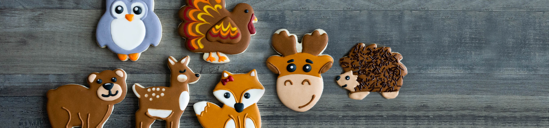 Decorated sugar cookies created with animal shape cookie cutters.
