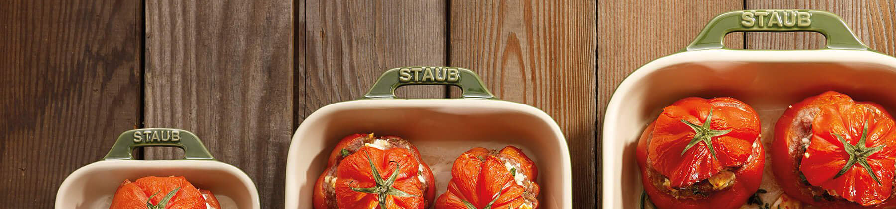 Photo of Staub cookware and bakeware.