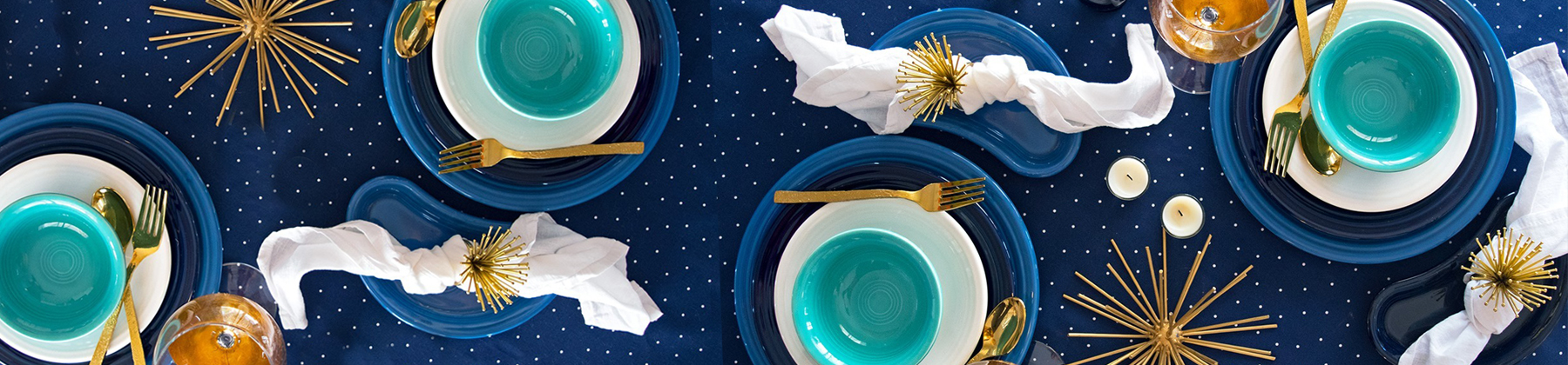 Fiesta New Years tablescape with meadow, white, and cobalt dinnerware.